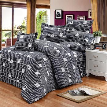 《FITNESS》精梳純棉雙人七件式床罩組- 萌玩樂園(黑)(5x6.2尺)