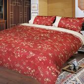 精梳棉加大四件式被套床包組- 夕川織影(紅)
