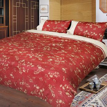 《FITNESS》精梳棉加大四件式被套床包組- 夕川織影(紅)(6*6.2)