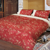《FITNESS》精梳棉雙人四件式被套床包組- 夕川織影(紅)(5*6.2)