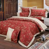 《FITNESS》精梳純棉特大七件式床罩組- 夕川織影(紅)(6x7尺)