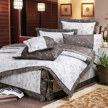 《FITNESS》精梳純棉加大七件式床罩組- 夕川織影(咖)(6x6.2尺)