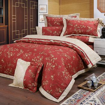 《FITNESS》精梳純棉雙人七件式床罩組- 夕川織影(紅)(5x6.2尺)