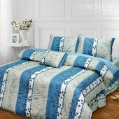 《Victoria》純棉單人四件式床罩組-飄花藍((3.5*6.2尺))
