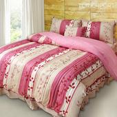 《Victoria》純棉單人四件式床罩組-飄花粉((3.5*6.2尺))