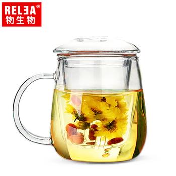 ★結帳現折★香港RELEA物生物 大蘑菇耐熱玻璃泡茶杯 附濾茶器(500ml)