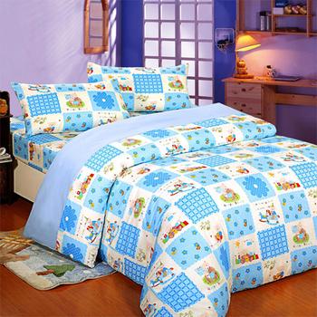 【FOCA 】單人-MIT頂級蜜桃絨三件式被套床包組 (童憶夢想-藍)