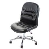 《GXG》短背皮面 無扶手電腦椅 (可後躺/鋁合金腳) TW-1004LUK(黑皮面)