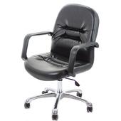 《GXG》短背皮面 電腦椅 (可後躺/鋁合金腳) TW-1003LUK(黑皮面)