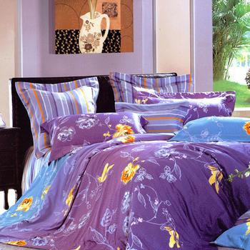 【Betrise漫步雲端】雙人-100%頂級60支長絨棉四件式兩用被床包組