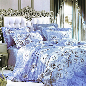 【Betrise清新花影】雙人-100%頂級60支長絨棉四件式兩用被床包組