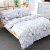 【FOCA】雙人-活性印染雪絨棉涼被五件式被套床包組(傾心)