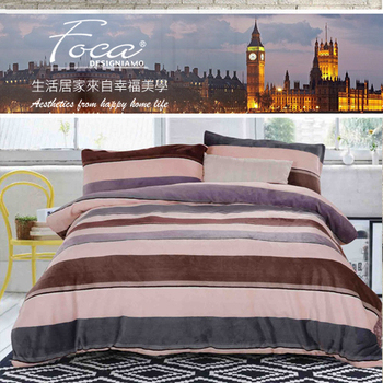 【FOCA】雙人-極緻法萊絨四件式兩用被毯床包組-床包加厚款(簡約)