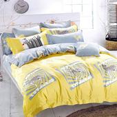 【Betrise】加大-環保印染德國防螨抗菌精梳棉四件式兩用被床包組-斑馬樂園