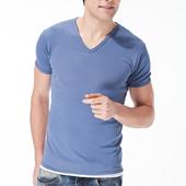 《MORINO》吸汗速乾短袖V領衫 淺藍(M)