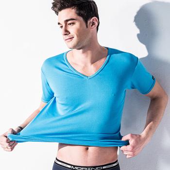 《MORINO》抗菌防臭速乾短袖V領衫 水藍(M)