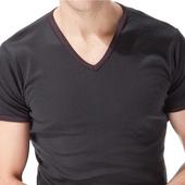 《MORINO》抗菌防臭速乾短袖V領衫 黑(M)