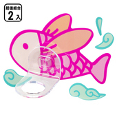 《黏樂趣 NELO》卡通造形沐浴固定座架重複貼掛勾(2組)(飛魚)