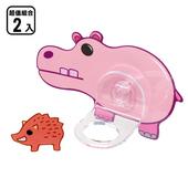 《黏樂趣 NELO》卡通造形沐浴固定座架重複貼掛勾(2組)(河馬)