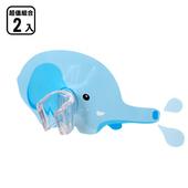 《黏樂趣 NELO》卡通造形蓮蓬頭座架重複貼掛勾(2組)(可愛水象)