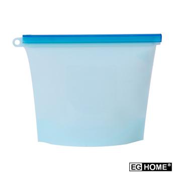 ★結帳現折★EG Home 矽膠食物密封保鮮袋1000ml(8入組)(藍色)