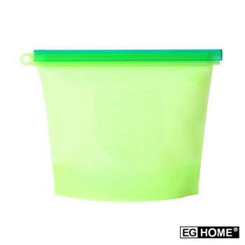 ★結帳現折★EG Home 矽膠食物密封保鮮袋1000ml(8入組)(綠色)