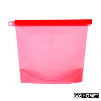★結帳現折★EG Home 矽膠食物密封保鮮袋1000ml(8入組)(紅色)