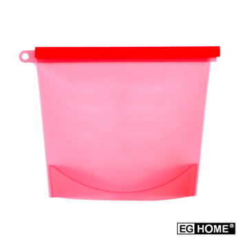 EG Home 矽膠食物密封保鮮袋1000ml(8入組)(紅色)