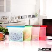 《EG Home》矽膠食物密封保鮮袋1000ml(8入組)(四色各兩個)