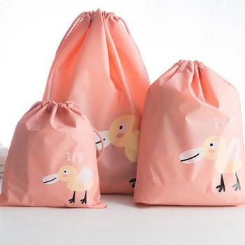 《韓版》Q版動物多功能收納束口袋3件組(小鴨)
