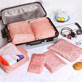《韓版》420D加密防水小清新印花旅行收納6件套組(粉紅叢林)