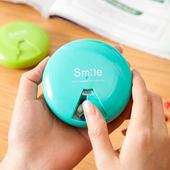 《JTourist》創意馬卡龍色方便攜帶粉餅造型藥盒(7日/格)(藍)