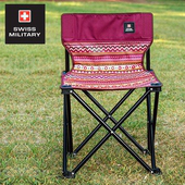 《SWISS MILITARY》彩繪民族風輕巧折疊椅(酒紅) #S6T3C002WI