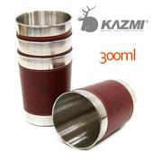 《KAZMI》仿皮革不鏽鋼杯4入組-300ml #K3T3K004