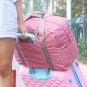 《JTourist》行李箱拉桿適用 大容量時尚韓版多功能可褶疊手提旅行袋/購物袋(深藍)