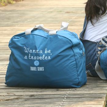 JTourist 高雅時尚輕便防潑水摺疊手提旅行袋(適用行李箱拉桿)(深藍)