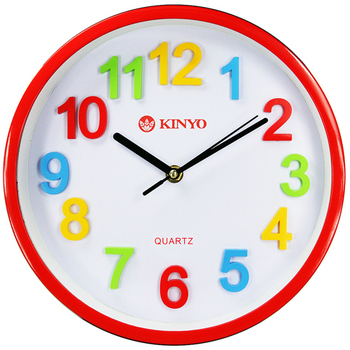 KINYO 圓形立體彩字10吋掃秒靜音掛鐘(CL-128)