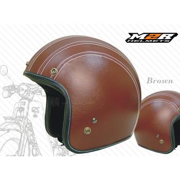 M2R 【300 皮帽 皮革安全帽】透氣式內襯│時尚復古│半罩│手工縫線(咖啡M)