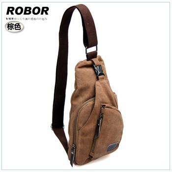 韓系型男 ROBOR 奔馳時尚帆布包單肩包(棕色)