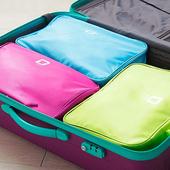 《JTourist》時尚典雅防潑水雙層手提旅行衣物收納袋/行李箱整理袋(藍)