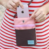 《JTourist》韓版撞色隨身迷你護照包/手機包/零錢包/背包(綠+深藍)