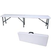 《頂堅》寬183公分(6尺寬度)4.5公分厚-對疊折疊椅/休閒椅/野餐椅/戶外椅/長椅(象牙白色)