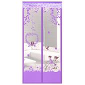 防蚊造型磁扣門簾(情侶單車-紫)