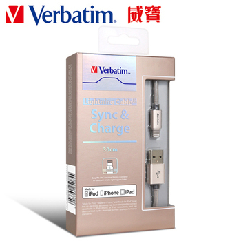 Verbatim Apple MFi認證鋁合金充電傳輸線30cm(金)