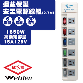 威電 威電 M-663-9 6開6插 過載保護安全電源線組15A 1入(M-663-9 6開6插 過載保護安全電源線組15A 1入)