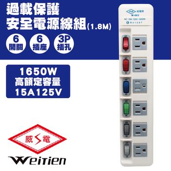 威電 威電 M-663-6 6開6插 過載保護安全電源線組15A 1入(M-663-6 6開6插 過載保護安全電源線組15A 1入)