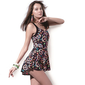 《SARBIS》泡湯SPA大女連身裙泳裝附泳帽B98638(M)