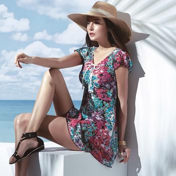 《SARBIS》泡湯SPA大女二件式連身裙泳裝附泳帽B92646(M)