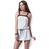 《SARBIS》戲水/沙灘/踏浪大女二件式連身裙泳裝附泳帽B92635(M)