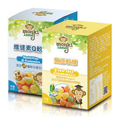 《monkiland》軟糖80g/瓶,共2瓶(魚油軟糖x1+維健素Q軟糖x1)